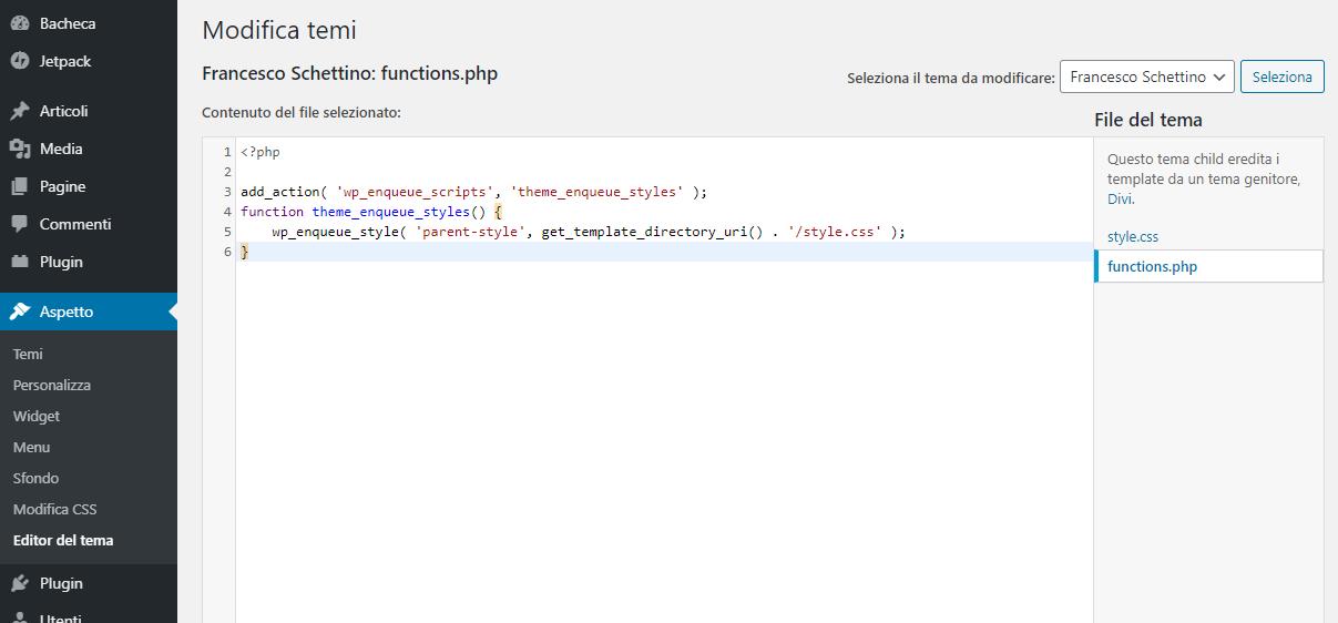 """Dashboard WordPress, nel tema Child, entriamo nel file """"functions.php"""""""