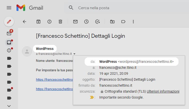 Screenshot del nome e dell'indirizzo email predefiniti da cui vengono inviate le email di WordPress